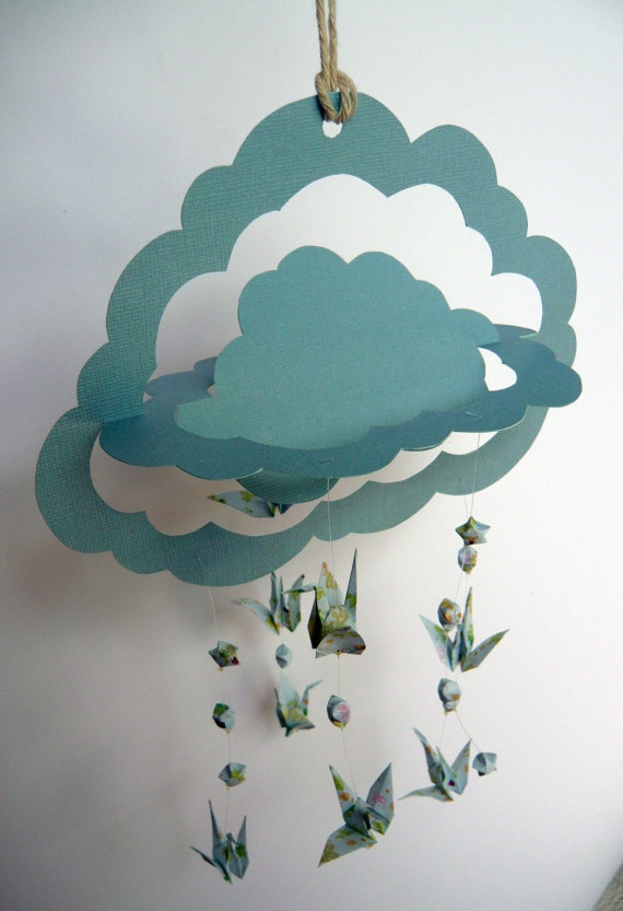Origami Hanging Mobile  Handmade 3D Cloud Paper by Katie1804