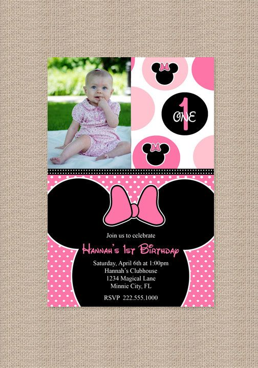 Minnie Mouse Birthday Party Invitation Polka Dot por Honeyprint