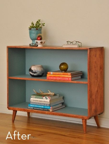 Do this with the boys' old bookcases! Before and After: Mid-Century Bookcase Makeover » Curbly | DIY Design Community