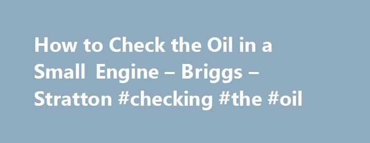 How to Check the Oil in a Small Engine – Briggs – Stratton #checking #the #oil http://sweden.remmont.com/how-to-check-the-oil-in-a-small-engine-briggs-stratton-checking-the-oil/  # Check the Oil in a Briggs Stratton Engine Want to get the most out of your Briggs Stratton lawn mower engine? Practice regular engine maintenance to ensure a long engine lifespan. One component of good small engine maintenance is checking the engine oil level prior to each start. New small engines don't often come…