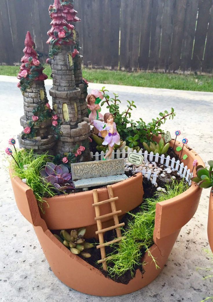 73 best images about fairy garden broken pot style on. Black Bedroom Furniture Sets. Home Design Ideas