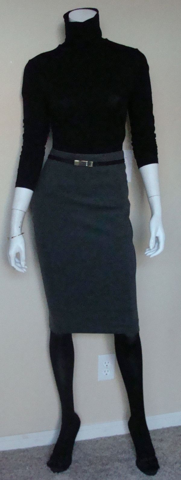 Daily Look: CAbi Fall '13 Seamed Pencil Skirt and Skinny Belt with our vintage Box Front Turtleneck, black tights and whimsical pumps.