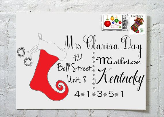 Christmas Card Stocking- Dashingly Chic Calligraphy Envelope Addressing on Etsy, $2.00