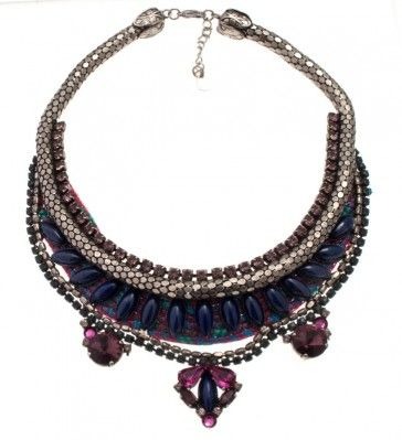 """""""Moluccella"""" - Handmade antique metal plated necklace with Swarovski crystals, strasses, beads and braid, by Art Wear Dimitriadis"""
