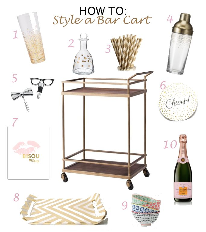 Bar Cart Styling. There are fun colored modern trays and stuff at West Elm.