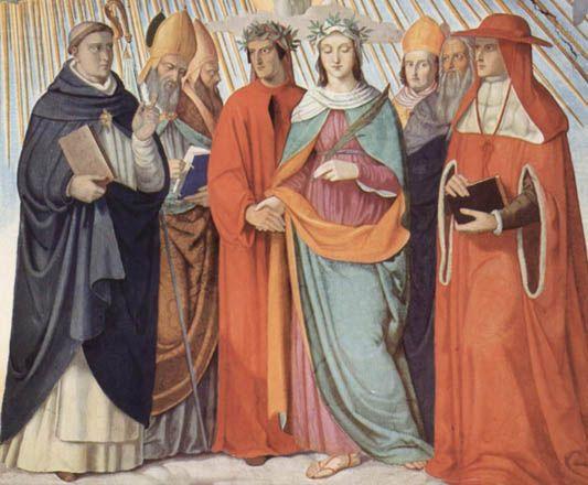 Dante y Beatriz con Tomás de Aquino, Alberto Magno, Pedro Lombardo y Sigerio de Brabante