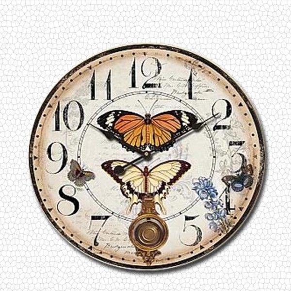 KLT Duvar Saati Sarkaçlı Kelebek 58 Cm
