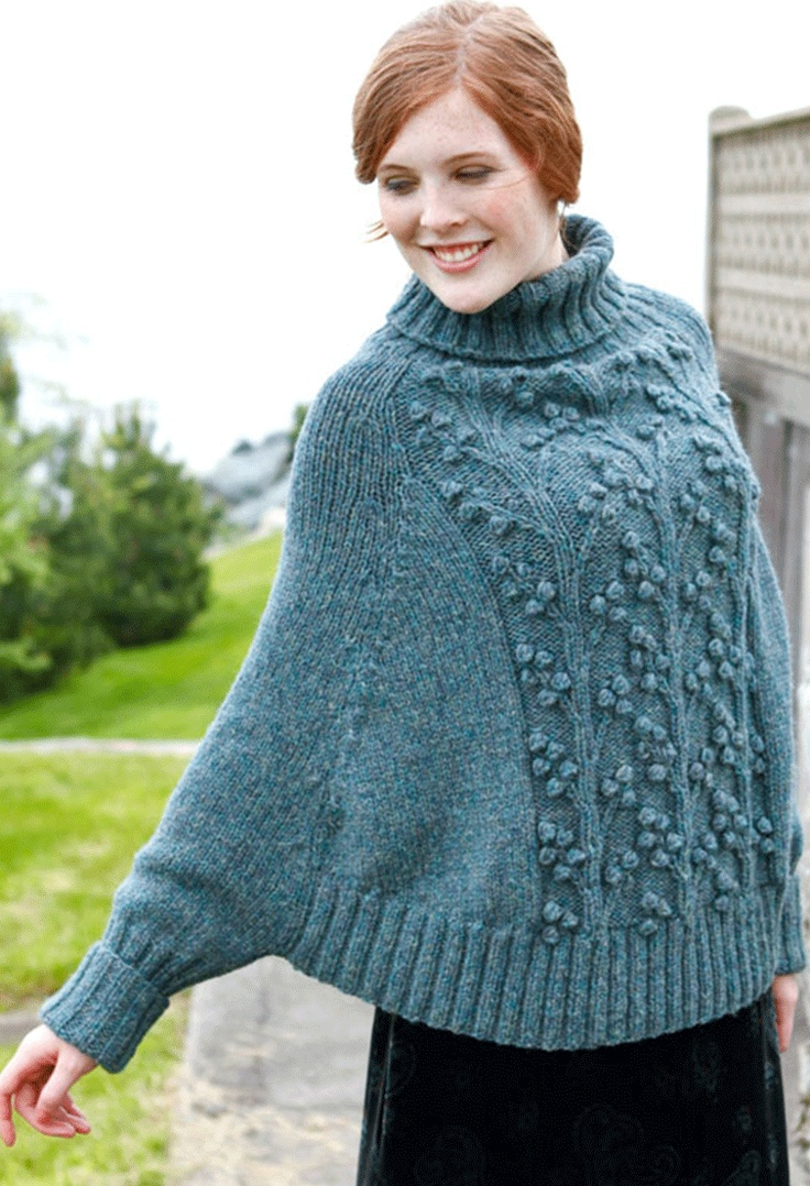 Design Detail | sweater poncho with deep raglan shaping, free pattern available from Berroco Yarns