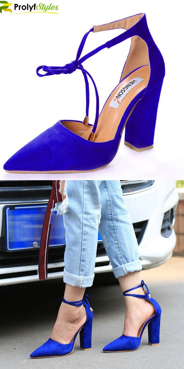 ca62083a1925f Free Shipping Available. Blue pumps, ankle strap pumps, pointed toe shoes, # shoes #womensfashion