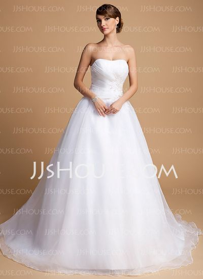 Wedding Dresses - $168.99 - Ball-Gown Sweetheart Court Train Organza Wedding Dresses With Ruffle Lace Beadwork Sequins (002014703) http://jjshouse.com/Ball-Gown-Sweetheart-Court-Train-Organza-Wedding-Dresses-With-Ruffle-Lace-Beadwork-Sequins-002014703-g14703