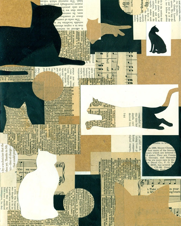 collage type silhouette cats cut out  PRINT 8x10   by Elizabeth Rosen. $15.00, via Etsy.
