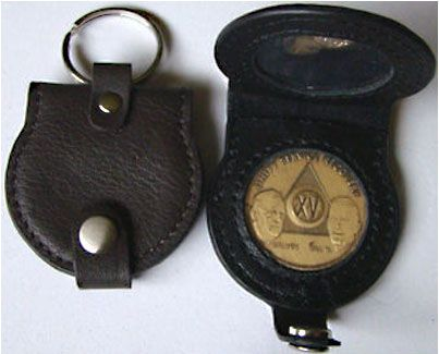 Leather Key Fob Folding Round (Holds 2 Medallions) | 12 Step Sobriety Gifts Recovering Alcoholics Anonymous