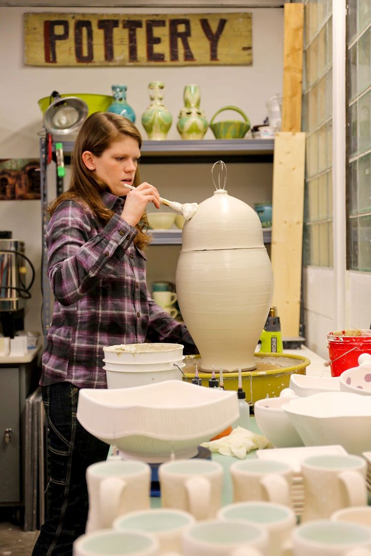 Inside Andrea Ruth Denniston's ceramic studio. (see more on Crafted in Carhartt)