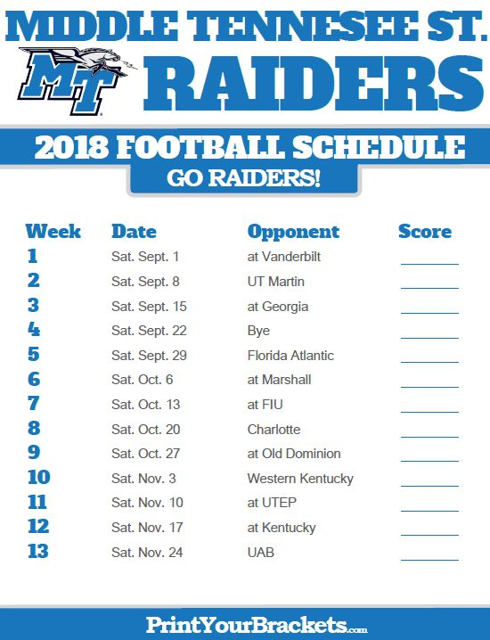 2018 Printable Middle Tennessee St Blue Raiders Football Schedule