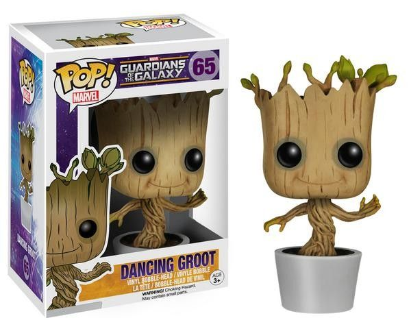 """Because the fans demanded it, the Dancing Groot is here! Joining Funko's fan-favorite POP! Vinyl Figure line, the Dancing Groot, complete with flower pot, from the finale of Marvel Studios' newest hit film, Guardians of the Galaxy, is sculpted as a 3 3/4"""" tall figure in the urban, stylized design that has proven so popular with fans. Add Dancing Groot to your Guardians collection today!"""