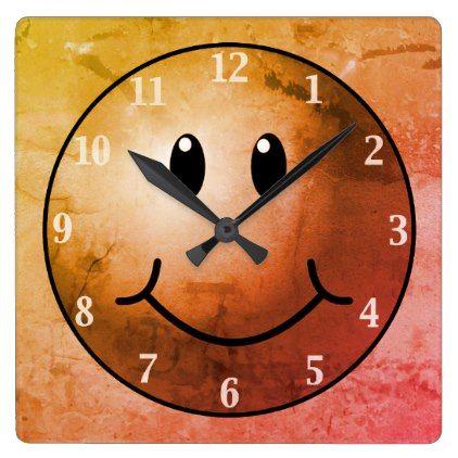 Smiley Emoji Face Wall Clock - gold gifts golden customize diy