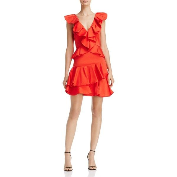 Rebecca Taylor Ruffle Dress (8,620 MXN) ❤ liked on Polyvore featuring dresses, candy apple, going out dresses, red going out dresses, flutter-sleeve dress, party dresses and short red dress