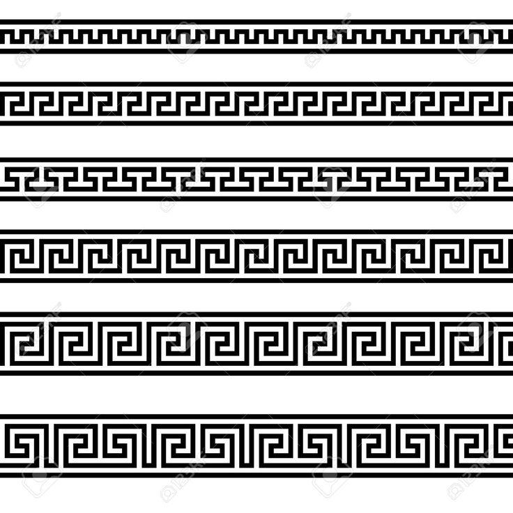 illustration of different greek ornament patterns (greek, border, pattern)