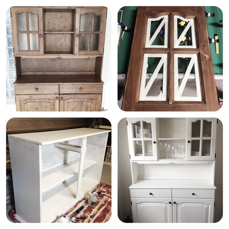 DIY Brocante buffetkast - houten buffetkast - schuurmachine  - witte grondverf/primer - witte zijdeglans lakverf (ral 9010) - hippe (deur en lade) knoppen