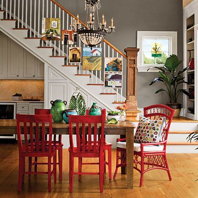 Color Your Furniture Punch up the energy in your dining room with colored furniture. These red chairs are finished with a semi-opaque stain...