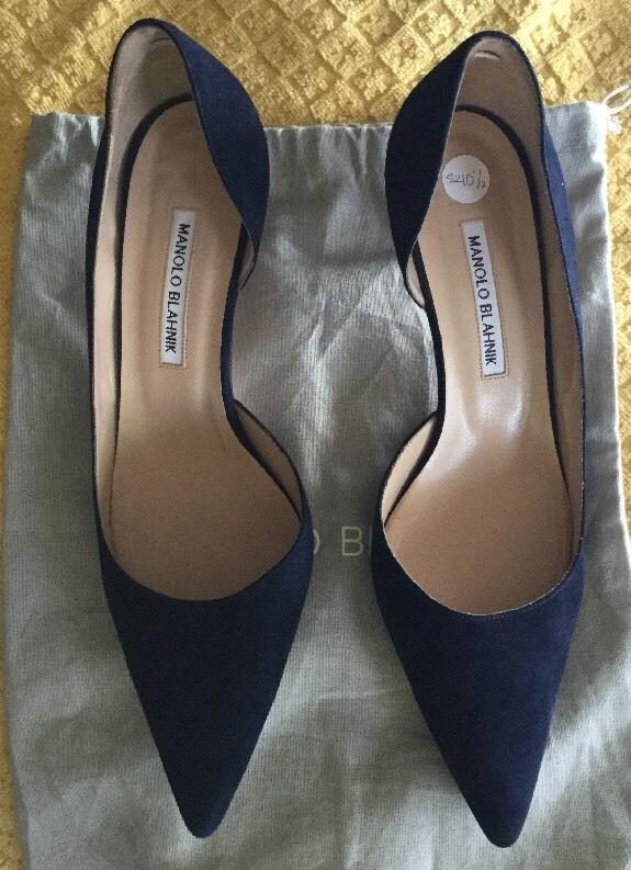 Manolo Blahnik Blue suede pointed toe pumps size 10.5 Mid Kitten heel $595  | eBay