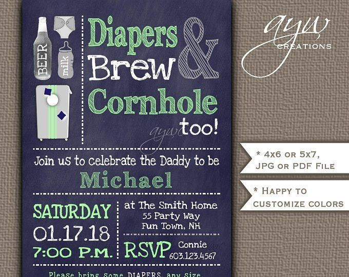 Cornhole, Beer and Diaper party invitation for the perfectly fun man