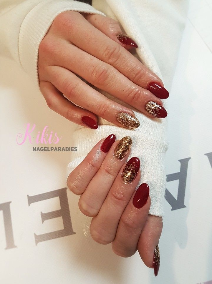dark #darkred #cherryred #rednails #longnails #glitter #gold