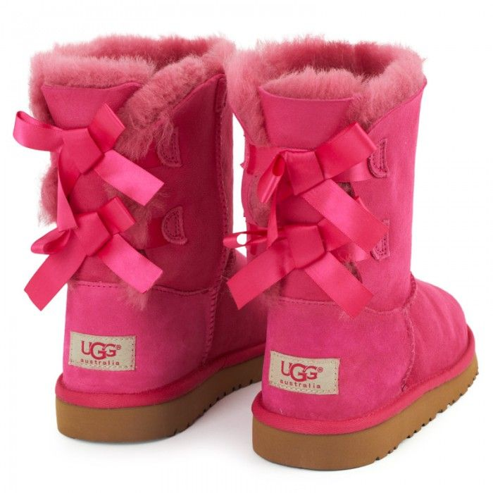 pink bow laced ugg boots things to wear pinterest pink ugg boots and boots. Black Bedroom Furniture Sets. Home Design Ideas