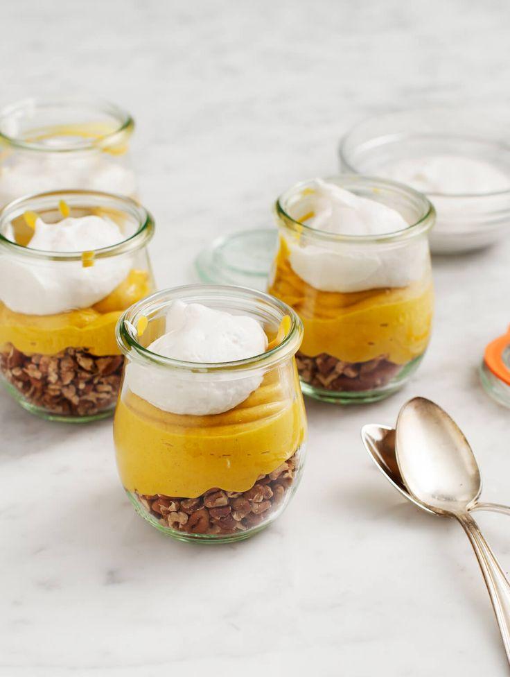 Vegan Pumpkin Pie Parfaits - Vegan Pumpkin Pie Parfaits are a creamy, yummy healthier Thanksgiving dessert. Gluten Free.