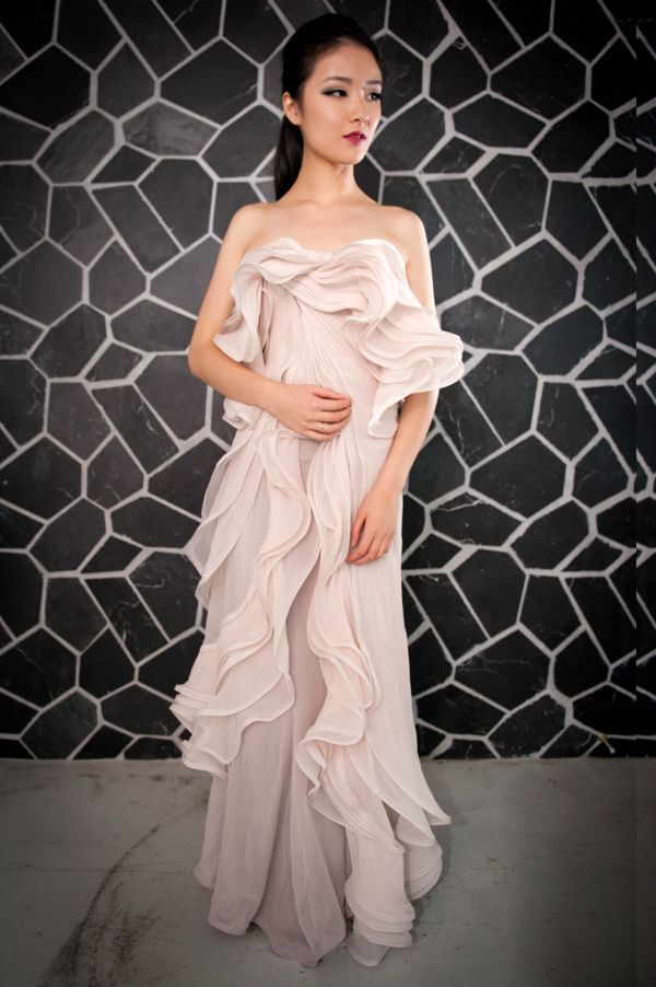 Image of Long Pink Ruffle Evening Gown