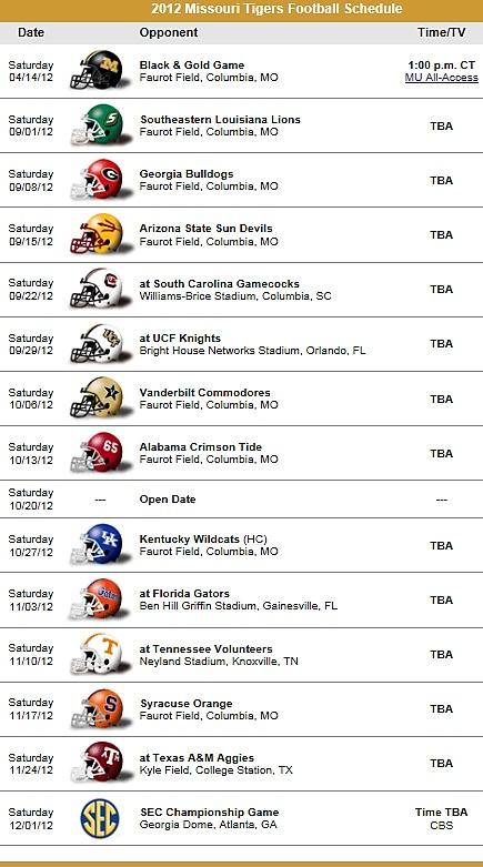 Missouri Tigers Football Team 2012 Schedule