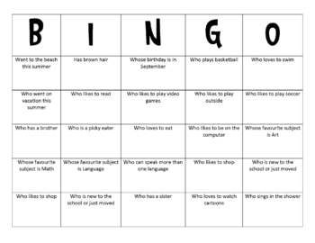 Human Bingo - Class Activity - MissF - TeachersPayTeachers.com