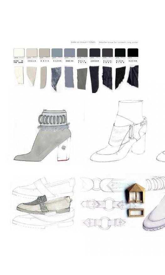 Fashion Sketchbook - footwear design drawings, colours & fabrics; fashion portfolio // Rose Agnew