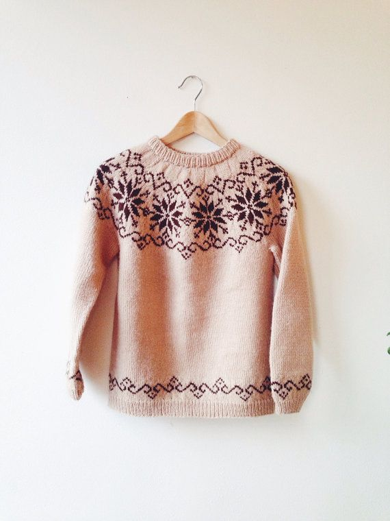 VintageVintage Handmade Sweater- Nordic,wool, snowflake, buff, Christmas sweater,