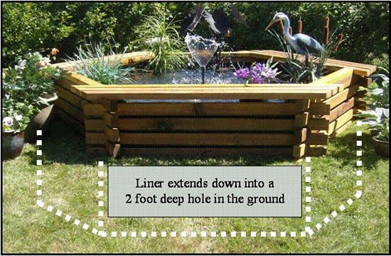 Above ground pond yard design pinterest dads pond for Above ground fish pond designs