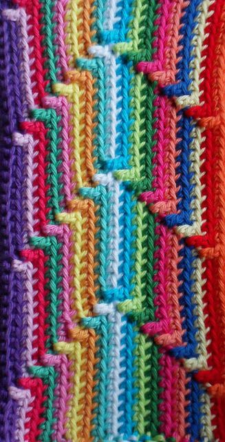 single crochet with occasional double crochet or treble stitch