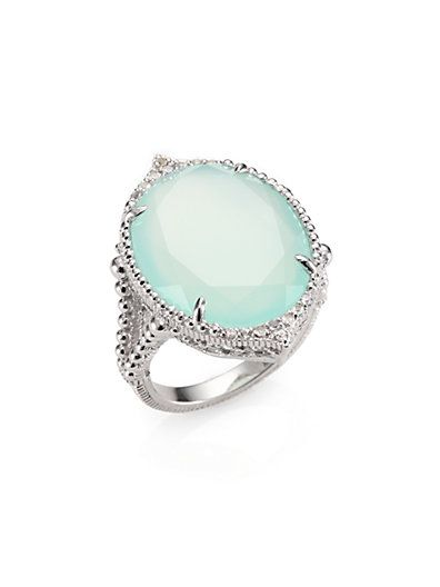 Judith Ripka - Seafoam Chalcedony, White Sapphire and Sterling Silver Ring - Saks.com
