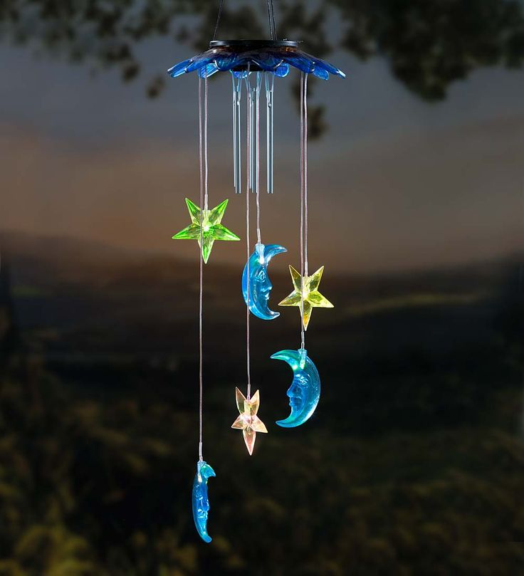 Solar moons and stars mobile with wind chime decorative for Unique patio lighting ideas