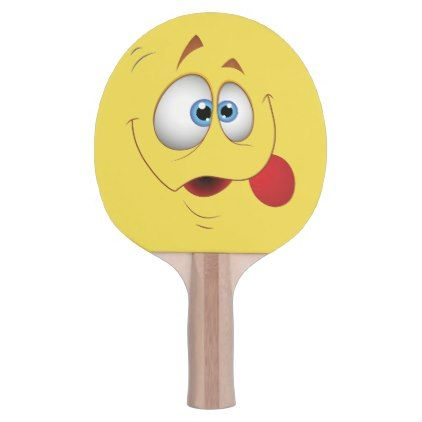 Goofy Smiling Yelow Face - Fun Kids Design Ping-Pong Paddle - fun gifts funny diy customize personal