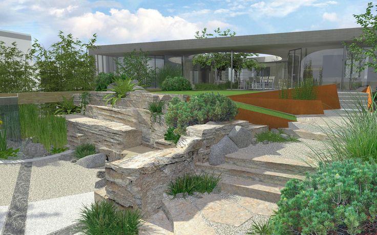 vizualizace přírodní zahrady u moderního domu / visualization of natural garden with a modern house