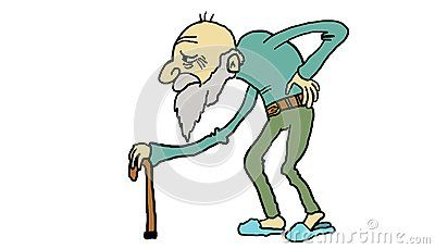 Very tired old man trying to walk with his cane, illustration