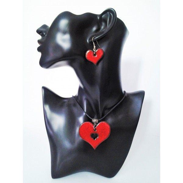 set náhrdelník s náušnicami červené srdiečka