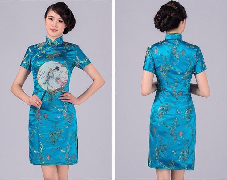 Heißer Verkauf Rosa Sommer Frauen Minikleid Chinesischen Vintage Seide Satin Cheongsam Sexy Qipao Mujer Vestido Größe S M L…