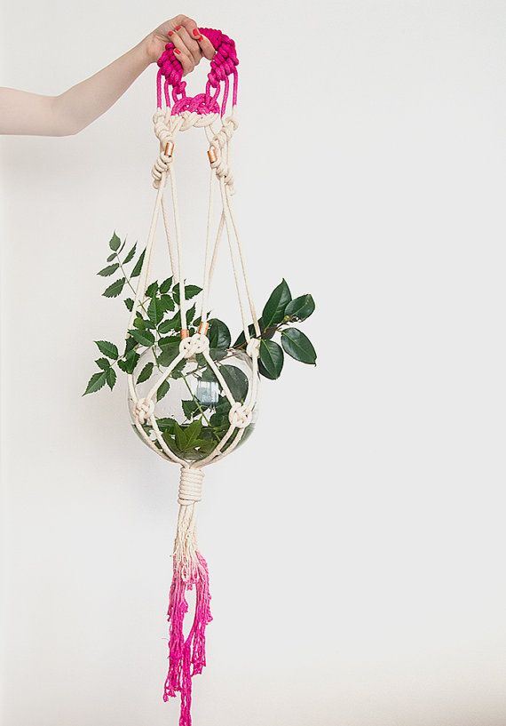 Dip Dyed Pink Copper Handmade Ombre Macrame Plant by ScoutGathers