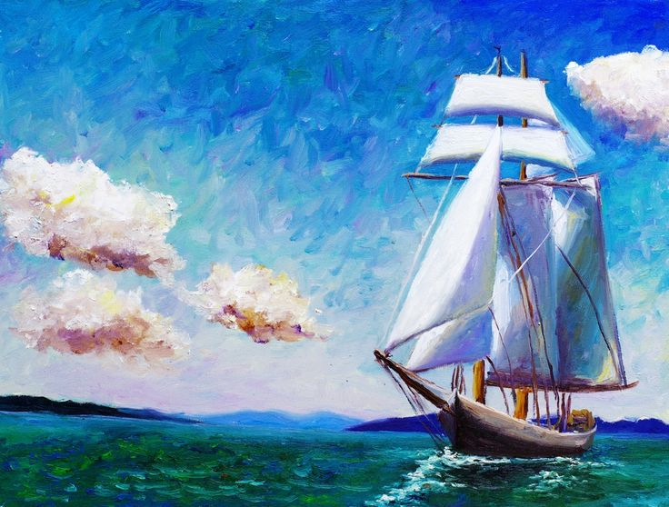 В нашем интернет-магазин, Вы можете купить Фотоообои с изображением корабля в стиле живопись, для детской комнаты.