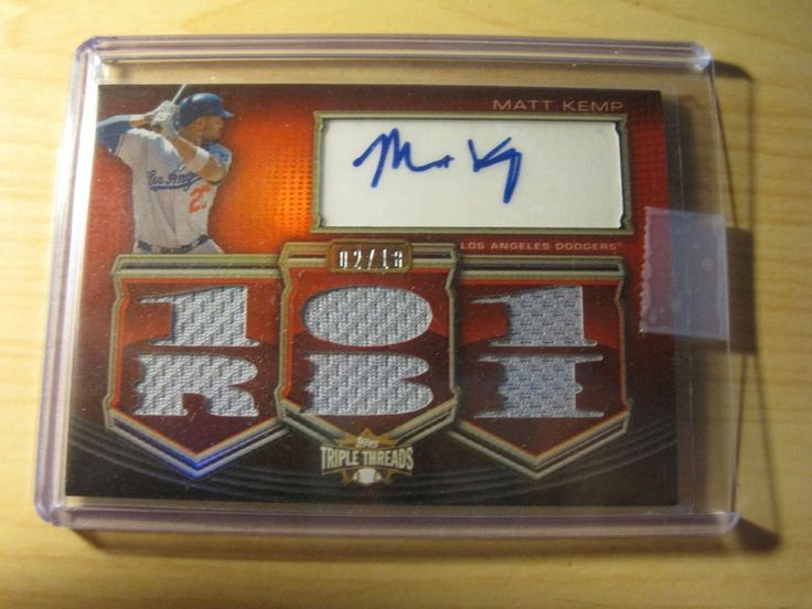2010 TOPPS TRIPLE THREADS RED 6 G.U RELICS AUTO CARD TTAR-245 MATT KEMP #02/18