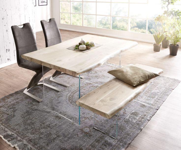 DELIFE Baumtisch Live Edge 140x90 Akazie Gebleicht Platte 5 Cm Glasbeine,  Esstische, Baumkantenmöbel