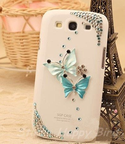 Bling Crystal Blue Butterfly  Rhinestone Plastic Cell Phone Hard Cover Case for Samsung i9300 Galaxy S3. $13.99, via Etsy.