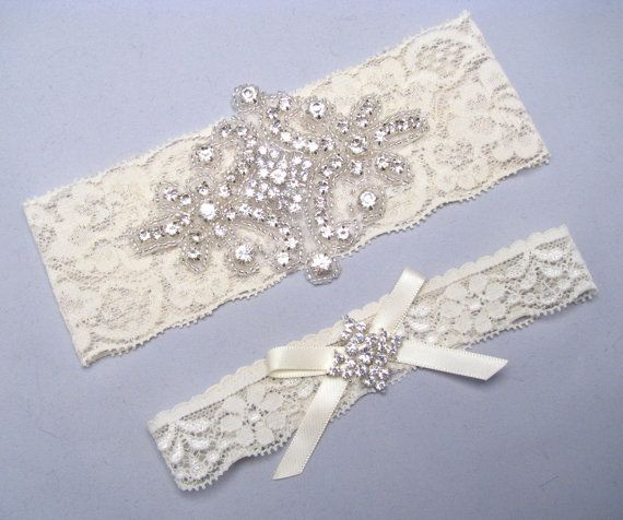 Wedding Garter Elastic Stretch Lace Bridal Set Crystal Rhinestone Keepsake And Toss Garters White Ivory Silver