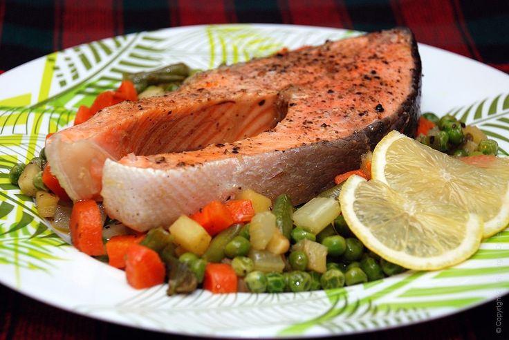 Семга с овощами - тушеная красная рыба с сезонными овощами